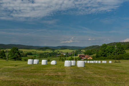 Meadows and fields between Vacov and Ckyne towns in Sumava mountains in spring day