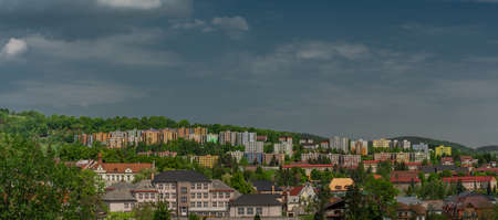 Housing estate in Vimperk town in Sumava national park in spring sunny color day