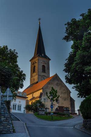 Pfarrkirche Sankt Radegundis church in Austria in sunrise color morning