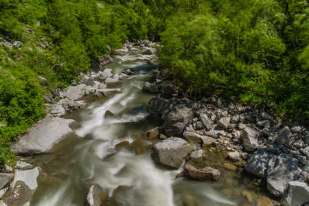 Nassfelder Ache small river near Sportgastein place in summer sunny day