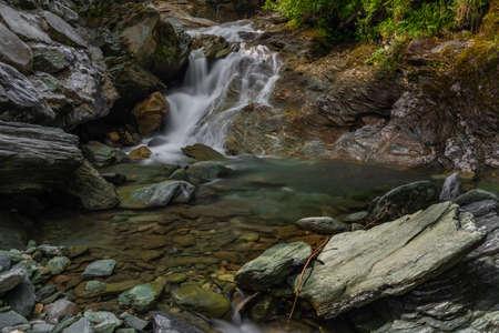 Nice color clean wild creek near Wolfau village in summer hot day Reklamní fotografie