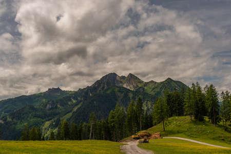 Austria mountains near Sankt Johann im Pongau in cloudy summer day