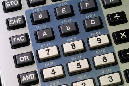 hexadecimal: Programmers calculator with hexadecimal and logic functions keys visible