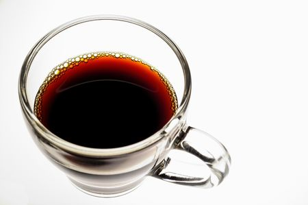 coffee hour: Coffee in glass  cup on white background (seen from above) horizontal Stock Photo