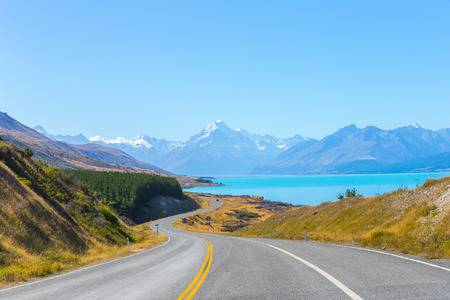 Mount cook viewpoint with the lake pukaki and the road leading to mount cook village in New Zealand.
