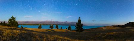 Panorama beautiful Night sky at Lake Pukaki , New Zealand