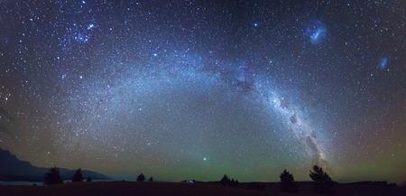 Panorama view Milky way over camper van at lake Pukaki , New Zealand