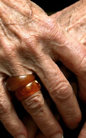third age: wrinkled hands of old Stock Photo