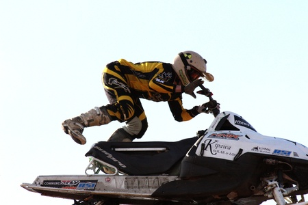 electrifying: Freestyle event at the Toronto International Snowmobile, ATV & Powersports Show,  International Centre in Ontario, Canada.   Taken October 17, 2009