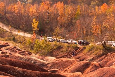 iron oxides: Scenic Badlands in Autumn Stock Photo