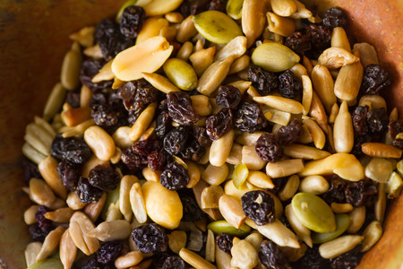 Organic trail mix with nuts, seeds and dried fruits