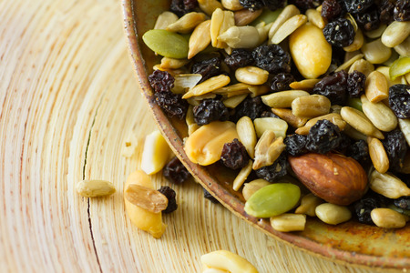 dried fruits: Organic trail mix with nuts, seeds and dried fruits