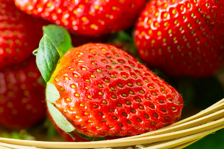 Fresh organic strawberries on a basket