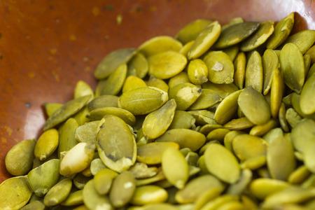 Organic pumpkin seeds Stockfoto
