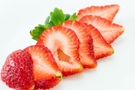 Slices of fresh strawberries