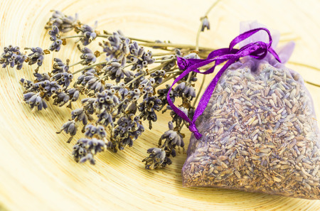 A sachet of lavender flowers with dried lavender