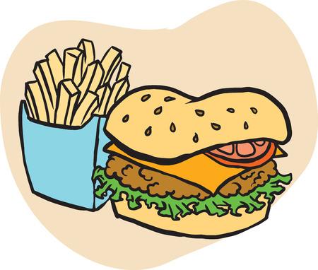 unhealthy: Una r�pida ilustraci�n de una hamburguesa de comida poco saludable con patatas