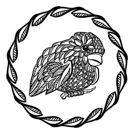 vectored: Black and white ornate bird with a circle frame Illustration