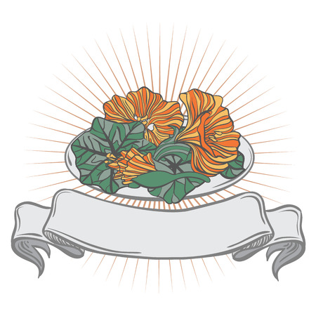 nasturtium: A plate with a blank ribbon label, full of edible flower - nasturtium