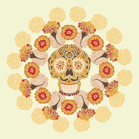 cempasuchil: Cr�neo mexicano - calavera, rodeada por un c�rculo de flores de cal�ndula