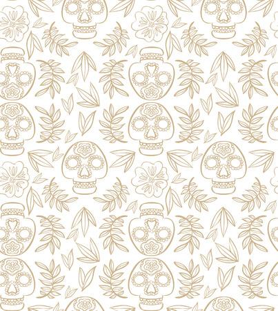 cempasuchil: Modelo simple con scull calavera y cal�ndula flores y hojas Vectores