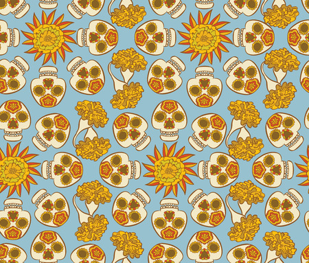 Colorfull  pattern with mexican skulls - calaveras and  marigold flowers Illustration