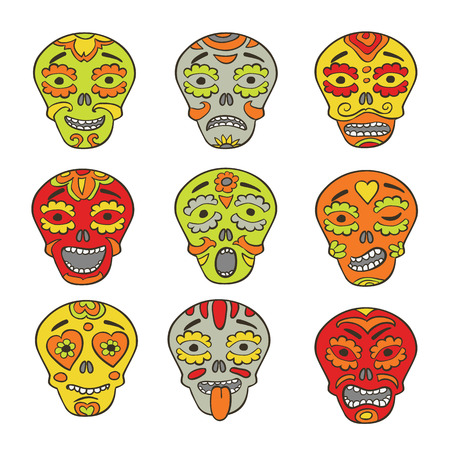 pictorial  representation: Emoticons of mexican skulls - calaveras,  with colorfull expresions Illustration