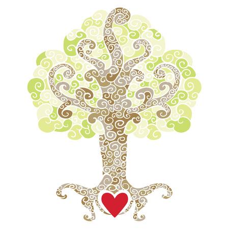 folha: �rvore decorativa ornamentado com um s�mbolo do cora��o em suas ra�zes Ilustração