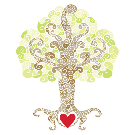 Ornate decorative tree with a heart symbol at its roots  Illustration