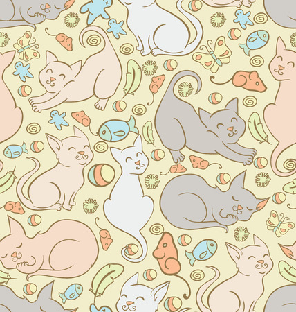 Seamless background pattern with playfull cats and kitten toys Vector