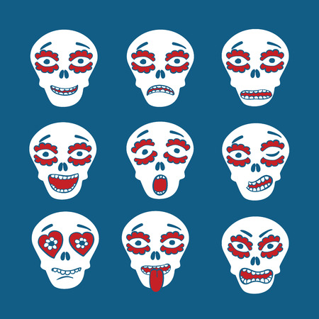 Emoticons of mexican skulls - calaveras,  with colorfull expresions, flat style Illustration