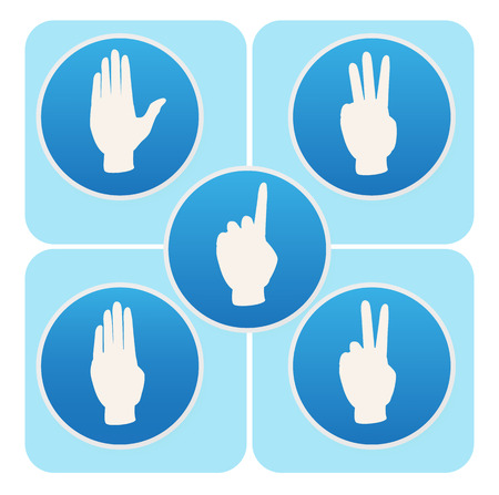 Hand poses in blue round icons counting from one to five Vector