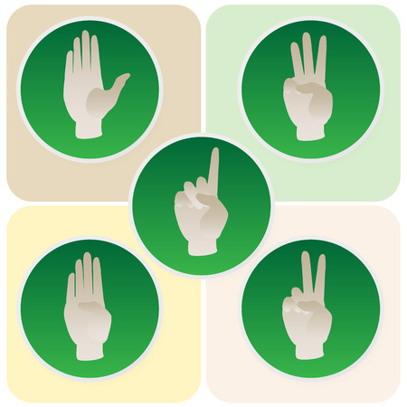 Hand poses in round green icons counting from one to five Vector
