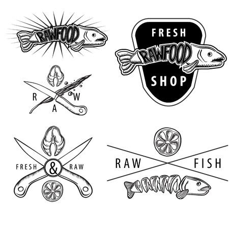 Set of black and white vintage retro badges with salmon, lemon, fish knifes Vector