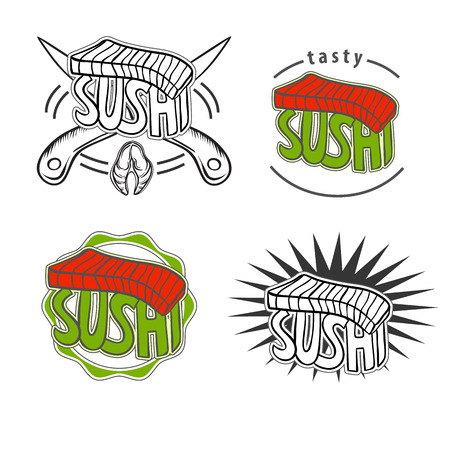 Set of Vintage retro sushi badges with salmon Vector