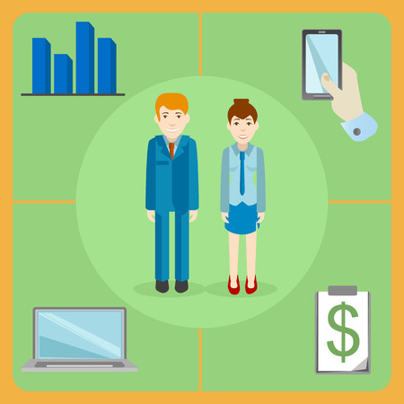 white collar: A pair of white collar office workers, man and woman with office equipment - phone, laptop, financial graphs Illustration