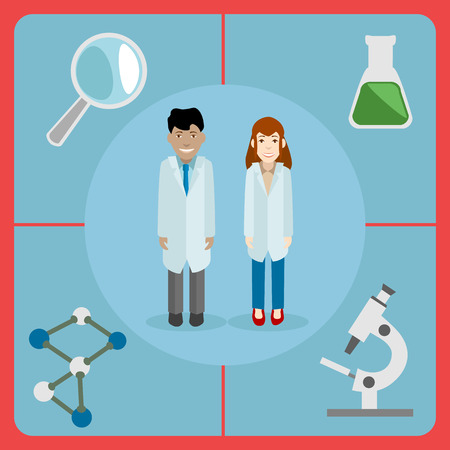 laboratory glass: Flat style icon of a pair of scientists, male and female with some of the laboratory equipment - microscope, looking glass, flask and molecules