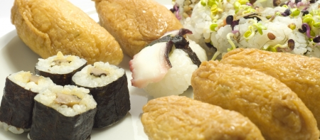 Dish of delicious japanese food. Sushi, tofu, crab Stock Photo - 16603835