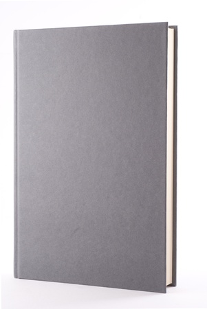 Gray book isolated on white. Vertical composition.
