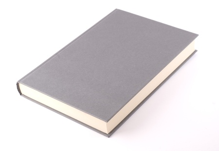 Gray book isolated on white. Diagonal composition.