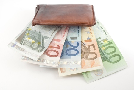 Wallet full of euro banknotes. Isolated on white.
