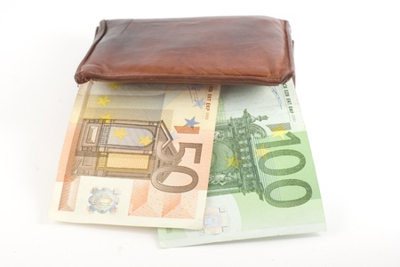 Thick wallet and euro banknotes. Isolated on white.