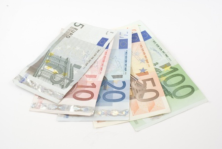 20 euro: Euro banknotes from five to one hundred. Isolated on white. Stock Photo