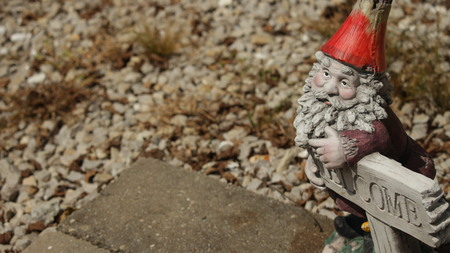 Welcome Home Gnome Stockfoto