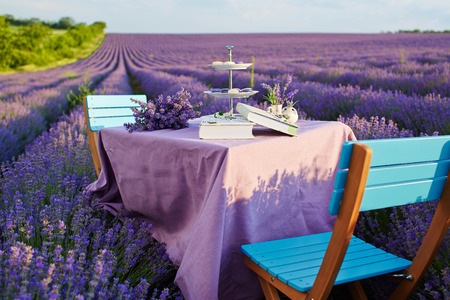 Table decoration in lavender flowers. Stock Photo