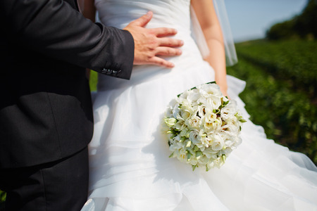 arm bouquet: Bride hold groom by the hand and wedding bouquet. Focus on wedding flower bouquet. Crop by chest and legs. Bride in wedding dress, groom wears classic clothes. Stock Photo