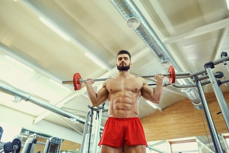 makes: Bodybuilder with a barbell makes exercises in the gym. Stock Photo