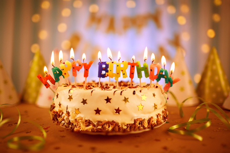 Amazing Happy Birthday Cake With Candles Stock Photo Picture And Royalty Personalised Birthday Cards Veneteletsinfo