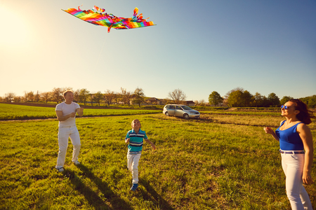 Happy family with a kite playing in the field in nature. Stock Photo