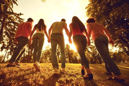 Back view. A group of happy young people at sunset on the nature. Friends in the evening in the park. Stockfoto